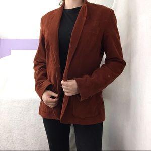 Vintage 70s Corduroy Orange Brown Blazer Jacket